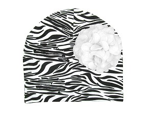 Black White Zebra Print Hat with White Large Geraniums