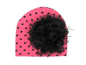 Candy Pink Black Dot Print Hat with Black Large Curly Marabou