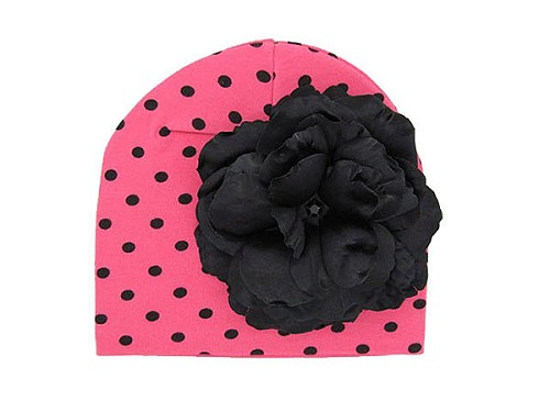 Candy Pink Black Dot Print Hat with Black Large Rose