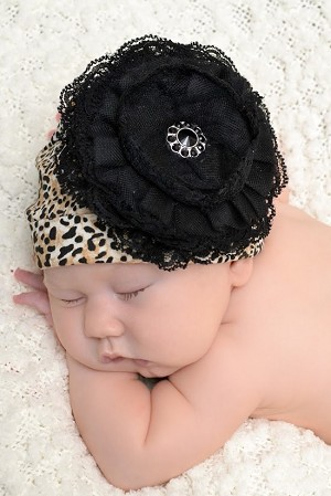 Leopard Print Hat with Black Lace Rose