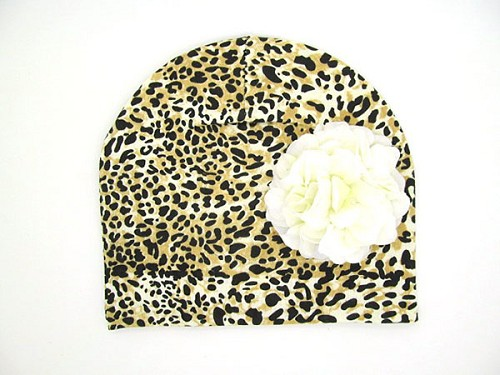 Leopard Print Hat with White Large Geraniums
