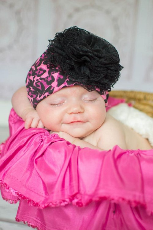 Pink Black Leopard Print Hat with Black Lace Rose