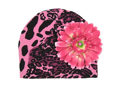 Pink Black Leopard Print Hat with Candy Pink Daisy
