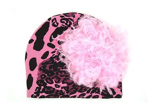 Pink Black Leopard Print Hat with Candy Pink Large Curly Marabou