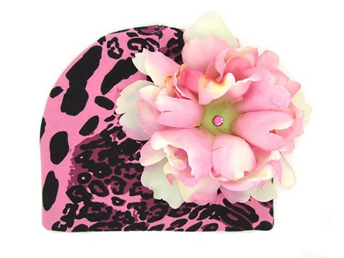 Pink Black Leopard Print Hat with Candy Pink Large Peony