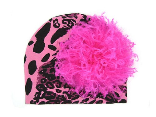 Pink Black Leopard Print Hat with Hot Pink Large Curly Marabou