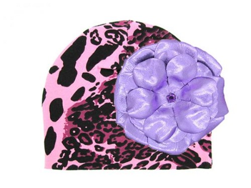 Pink Black Leopard Print Hat with Metallic Purple Rose