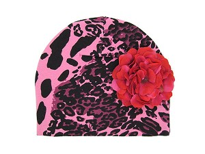 Pink Black Leopard Print Hat with Raspberry Large Geraniums