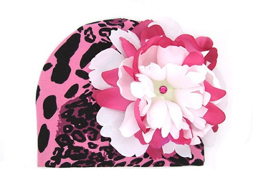 Pink Black Leopard Print Hat with White Raspberry Large Peony