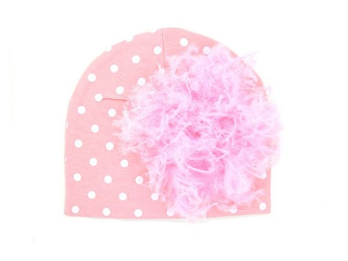 Pink White Print Hat with Candy Pink Large Curly Marabou