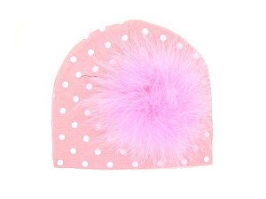 Pink White Print Hat with Candy Pink Large regular Marabou