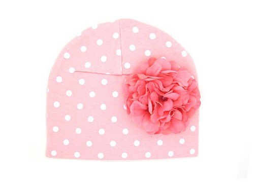 Pink White Print Hat with Pale Pink Large Geraniums