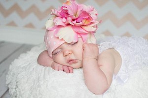 Pink White Print Hat with Pale Pink Large Peony