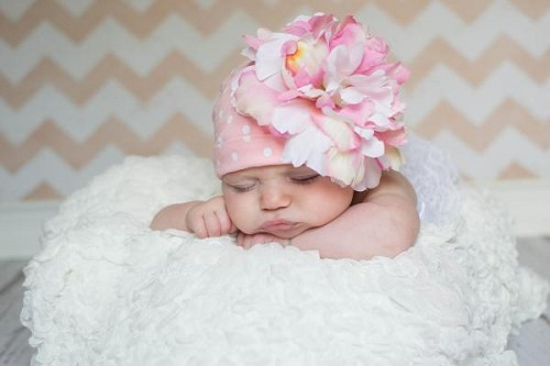 Pink White Print Hat with Pink White Large Peony