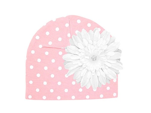 Pink White Print Hat with White Daisy