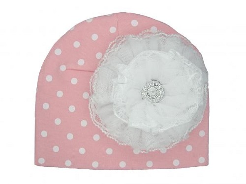 Pink White Print Hat with White Lace Rose