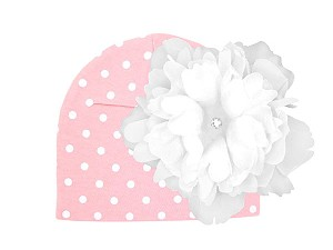 Pink White Print Hat with White Large Peony