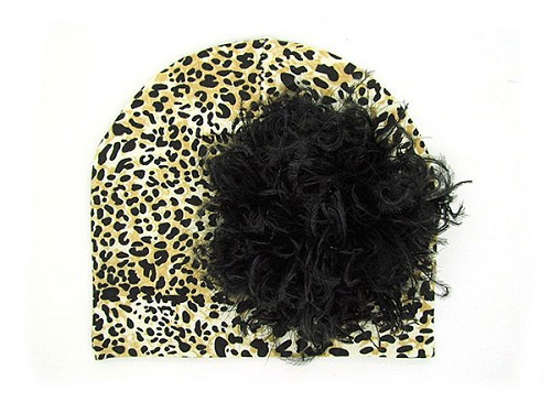 Tan Black Print Hat with Black Large Curly Marabou