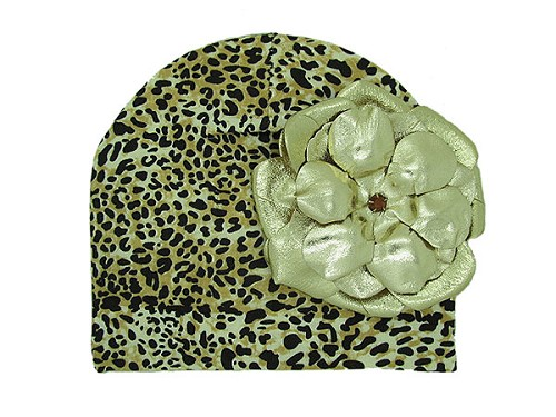 Tan Black Print Hat with Metallic Gold Rose