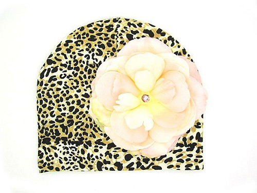 Tan Black Print Hat with Pale Pink Large Rose