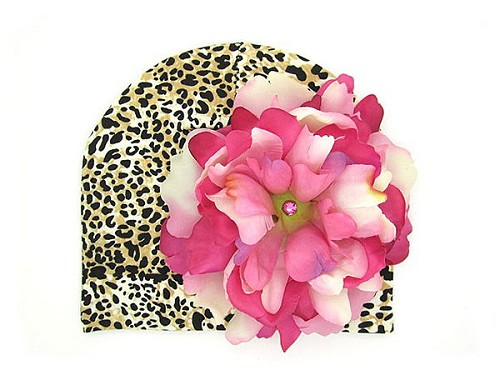 Tan Black Print Hat with Pink Raspberry Large Peony