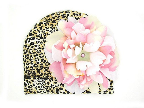 Tan Black Print Hat with Pink White Large Peony