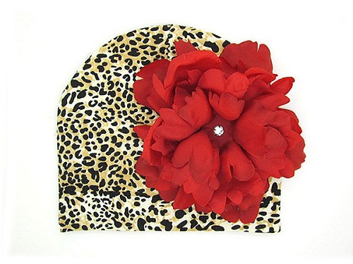 Tan Black Print Hat with Red Large Peony