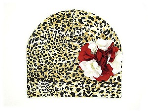 Tan Black Print Hat with Red White Large Geraniums