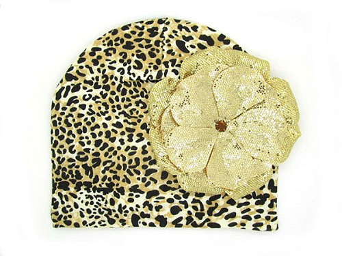 Tan Black Print Hat with Sequins Gold Rose