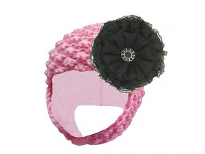 Candy Pink Pretty Pixie Hat with Black Lace Rose