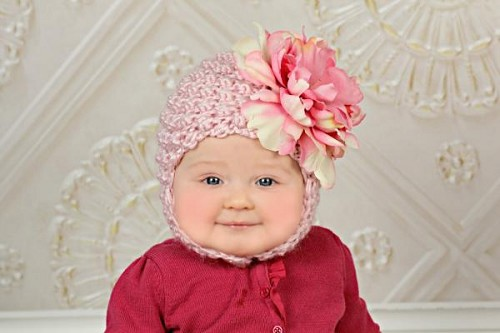Pale Pink Pretty Pixie Hat with Pale Pink Large Peony