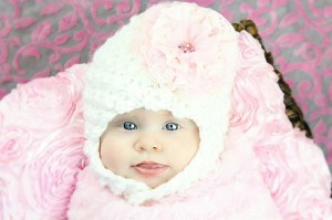 White Pretty Pixie Hat with Pale Pink Lace Rose
