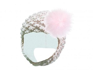 White Pretty Pixie Hat with Pale Pink Large regular Marabou