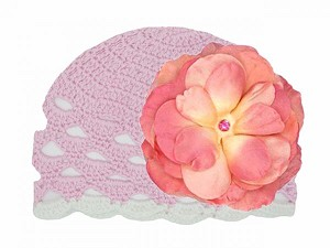 Pale Pink Scalloped Crochet Hat with Candy Pink Large Rose