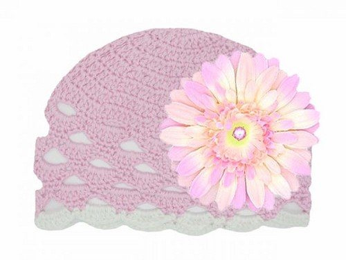 Pale Pink Scalloped Crochet Hat with Pale Pink Daisy