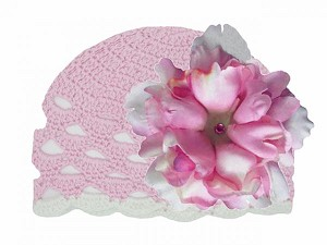 Pale Pink Scalloped Crochet Hat with Pale Pink Large Peony