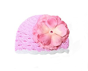 Pink White Scalloped Crochet Hat with Candy Pink Large Rose
