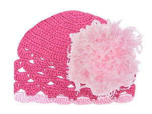 Raspberry Scalloped Crochet Hat with Candy Pink Large Curly Marabou