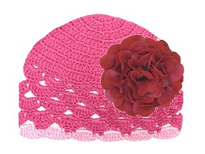 Raspberry Scalloped Crochet Hat with Raspberry Large Geraniums