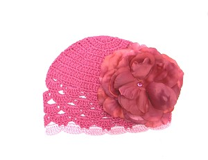 Raspberry Scalloped Crochet Hat with Raspberry Large Rose