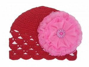 Red Scalloped Crochet Hat with Candy Pink Lace Rose