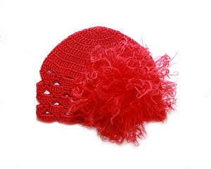 Red Scalloped Crochet Hat with Red Large Curly Marabou