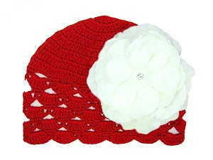Red Scalloped Crochet Hat with White Large Rose