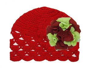 Red Scalloped Crochet Hat with Christmas Large Geraniums
