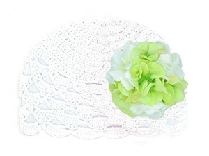 White Scalloped Crochet Hat with White Green Large Geraniums