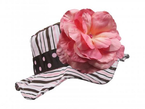 Brown Pink Dot Multistripe Sun Hat with Candy Pink Large Rose