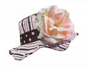 Brown Pink Dot Multistripe Sun Hat with Pale Pink Large Rose