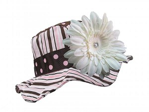 Brown Pink Dot Multistripe Sun Hat with White Daisy