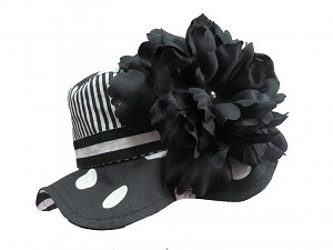Black White Dot Sun Hat with Black Large Peony