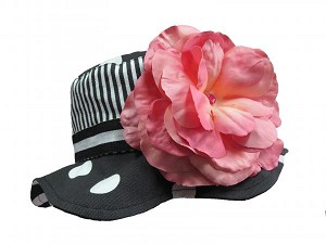 Black White Dot Sun Hat with Candy Pink Large Rose